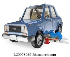 3D white people. Mechanic repairing a car