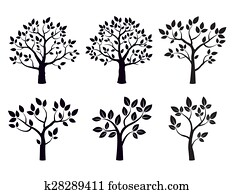 Black vector trees with leafs