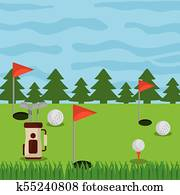 golf course field holes flag ball and bag clubs
