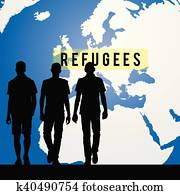 migration refugees and map of world in background illustration