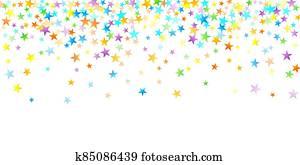 Rainbow Festive Confetti. Carnival Star Falling.