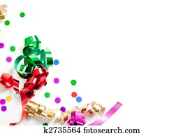 Ribbons and confetti on white with copy space