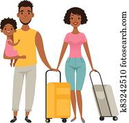 Vacation people with suitcases, family goes on vacation. Cartoon afroamerican characters mom dad daughter vector illustration