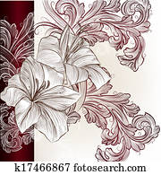 Wedding vector invitation card with lily