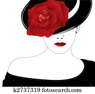 woman in a hat with a rose