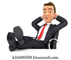 3d businessman relaxing