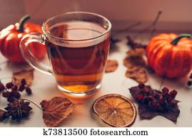 Autumn hot steaming cup of tea.