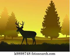 Deer with nature background