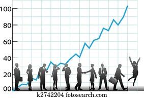 mitarbeitergruppe, tabelle, firma, wachstum