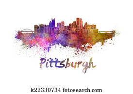 Pittsburgh skyline in watercolor