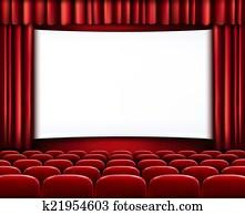 reihen, von, rot, kino, oder, theater setzt, vor, wei?, leer, scre