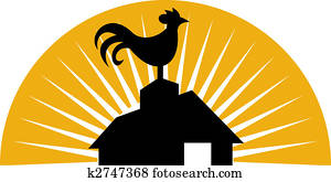 Rooster crowing on top of farm house or barn