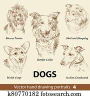 Set of hand drawing dogs 4