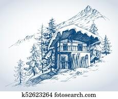 skihütte, in, bergwelt, cluburlaub