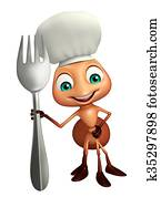Ant cartoon character with chef hat and spoons