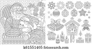 New Year coloring page. Christmas ornaments set