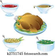 Thanksgiving dinner icons