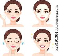 Woman Washing Face Steps