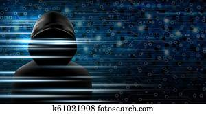 Cybersecurity concept of Hacker and technology background design