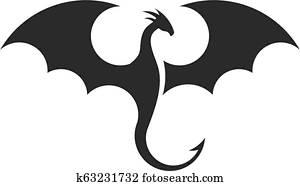 einfache, drachen, silhouetten, logo