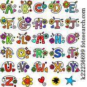 Whimsical Alphabet Monograms