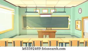 cartoon illustration of college classroom
