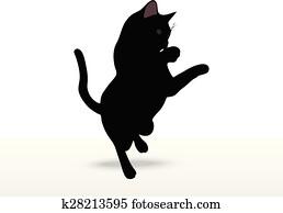 Download Clip Art of cat silhouette in Reach pose k28213599 ...