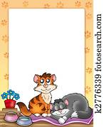 Frame with two cute cats