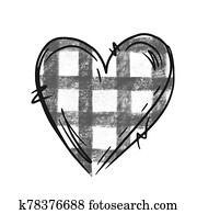 Hand drawn heart illustration with buffalo plaid print. Digital graphics