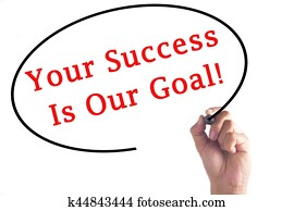 Hand writing Your Success Is Our Goal on transparent board