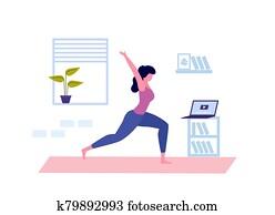 junge frau, machen, yoga., online, joga, class., coronavirus, quarantine., vektor
