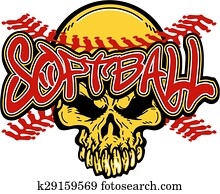 softball skull design