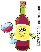 Cartoon bottle of wine