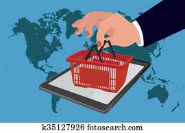 Shopping basket on tablet screen