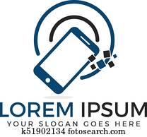Smart phone logo design. Mobile application.