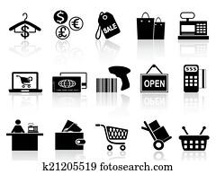 schwarz, einzelhandel, und, shoppen, heiligenbilder, satz