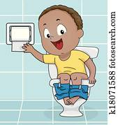 Boy Reaching for Toilet Paper