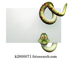 Cartoon snake hanging on blank sign.