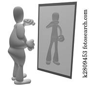 Fat person looking in mirror