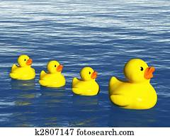Rubber Duck Family on the Ocean