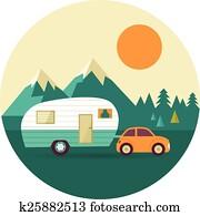 vektor, altmodisch, hintergrund, mit, nature,, forest,, hügel, und, wohnmobil, auto