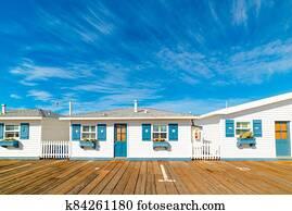 Wooden houses on a boardwalk in San Diego