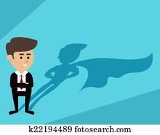 Businessman superman shadow