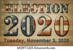 Quilted Flag with Election 2020 and Date on Old Parchment. 3D illustration