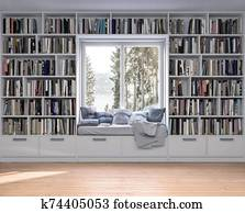 Reading place with wooden floor, bookshelves, white wall