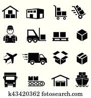 shipping,, distribution,, ladung, und, logisitk, heiligenbilder