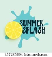summer, wasser, spritzen, mit, zitrone, hintergrund