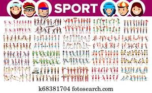 Athlete Set . Man, Woman. Group Of Sports People In Uniform, Apparel. Sportsman Character In Game Action. Flat Cartoon Illustration