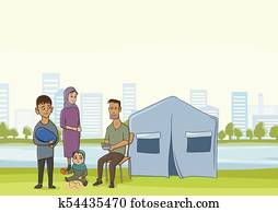 Family homeless or refugees, a man and a woman with children in the big city. Vector illustration with copyspace.