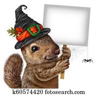 Halloween Squirrel Sign